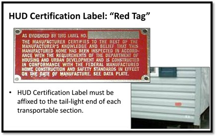 HUD certification red tag
